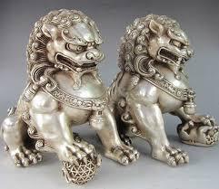 foo dog lion silver guardian lion foo fu dog statue pair free shipping