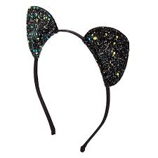 claires headbands black glitter cat ears headband s