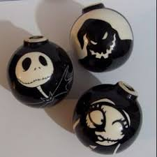 painted nightmare before tree ornaments