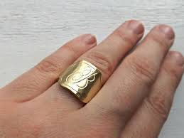mens monogram ring buy a crafted mens signet ring brass engraved monogram ring