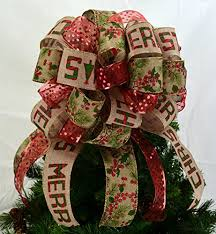 big christmas bows burlap tree topper bows christmas tree bow topper