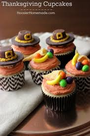 thanksgiving cupcakes pilgrim hats and cornucopia hoosier