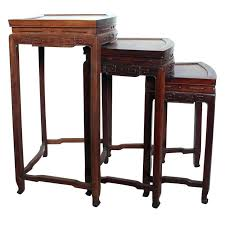 pottery barn nesting tables wood nesting tables a set of three teak wood nesting tables with