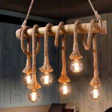 Bamboo Ceiling Light 6 Industrial Vintage Hemp Rope Chandelier Pendant Light