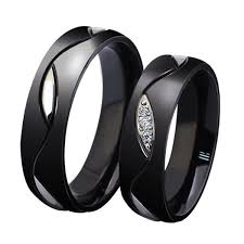 black zircon rings images Lover 39 s black titanium zircon inlay couple rings blazemall jpeg