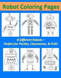 free robot coloring sheet pages kids surviving teacher u0027s