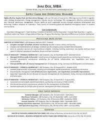 Resume Examples Warehouse by Supply Chain Resume Example Operations Manager