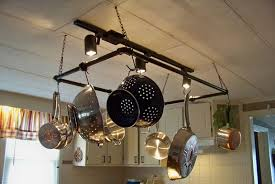 pot rack ideas kitchen pot hanging rack with lights voluptuo us