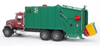 amazon com bruder toys mack granite garbage truck ruby red green