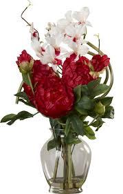 Artificial Flower Arrangement In Vase Alcott Hill Peony And Orchid Silk Flower Arrangement In Vase