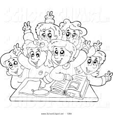 kids clipart black and white