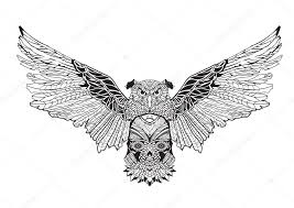 owl with spread wings holding a skull in his paws contour drawing