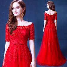 short sleeve off the shoulder red lace tulle a line evening dress