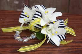 white orchid corsage sassy stripes wrist corsage ludemas
