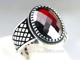 mens rings stones images Fashion design sterling silver 925 turkish red garnet stone men jpg