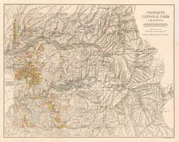 Yosemite Valley Map Antique Map Of Yosemite National Park California Hjbmaps