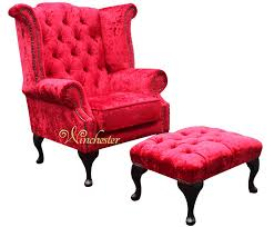 Queen Anne Wingback Chair Leather Chesterfield Queen Anne High Back Wing Chair Plush Red Velvet