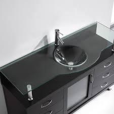 Glass Vanity Tops Aqua 55 Inch Bathroom Vanity Espresso Finish Glass Vanity Top