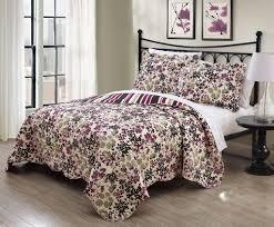 Chocolate Bed Linen - 3 piece juniper chocolate plum quilt set