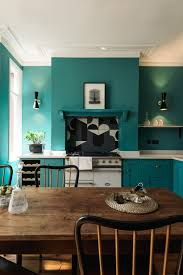 green kitchen designs shaker style devol kitchen in london with statement tiled backsplash