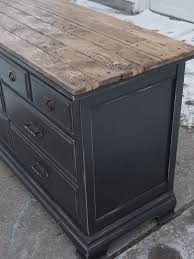 Black Hutch Buffet With Wood Top French Country Painted Furniture Techniques Black French Cabinet