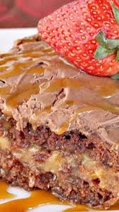 turtle cake recipe german chocolate cake is filled with a creamy