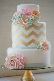 new cake design gold chevron with vintage inspired flowers