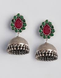 jhumka earrings online buy fabindia green maroon silver anusuya es 2290 ruby jhumka