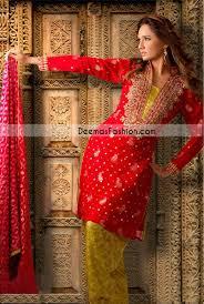 pakistani semi formal dress red mehndi green jamawar latest