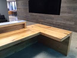 Plywood Reception Desk Rustic Oak Reception Desk With Aluminum Signage Bay Area Custom
