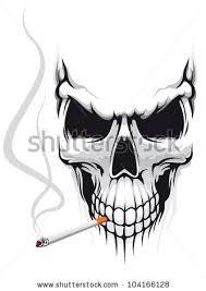 danger skull smoke cigarette tshirt design stock vector 104166128