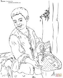 a boy with a dog by bartolome esteban murillo coloring page free