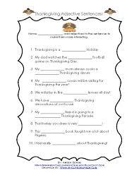 thanksgiving adjective sentences teacherlingo