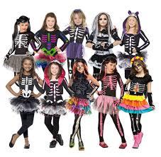 new girls skeleton costumes kids cute halloween fancy dress