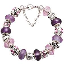glass beads bracelet images Mother bracelet purple and pink glass bead silver tone jpg