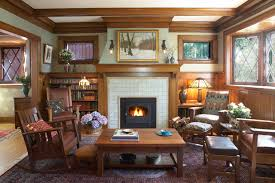 arts and crafts home interiors arts crafts fireplace traditional family room minneapolis