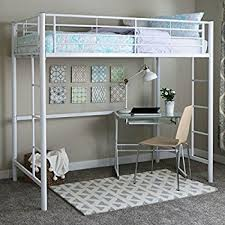 One Person Bunk Bed Walker Edison Metal Loft Bed White Kitchen Dining
