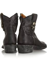 womens boots distressed leather lyst mexicana tete de mort distressed leather ankle boots in black