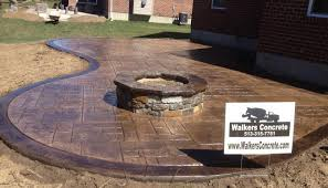 Patio And Firepit Concrete Pit Ideas Sted Concrete Patio With Pit