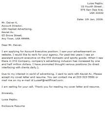 sample advertising account executive cover letter sample
