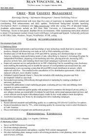 professional resume sample web content management