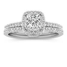 diamond wedding sets halo diamond wedding set with pave set diamonds shane co