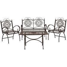 Wrought Iron Patio Dining Set - safavieh sophie rustic brown 4 piece iron patio conversation set