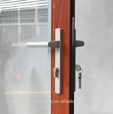 wooden grain color glass door with internal blinds aluminium alloy