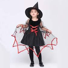 toddler witch costume 2017 new cotton with mesh children witch costume set dress w hat