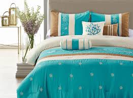 Brown And Blue Bed Sets Bedroom Charming 7 Piece Queen Embroidered Comforter Set Blue