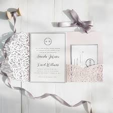 wedding invitation pocket blush pink and gray laser cut pocket wedding invitations swws040