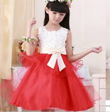 latest design summer kid skirt red and white flower tulle