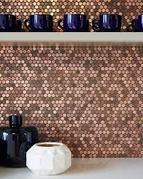 Modwalls Real Penny Mosaics Penny Round Metallic Copper Mosaic - Bar backsplash