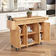 movable kitchen island with breakfast bar amazon com home styles 5023 95 wood top kitchen cart with